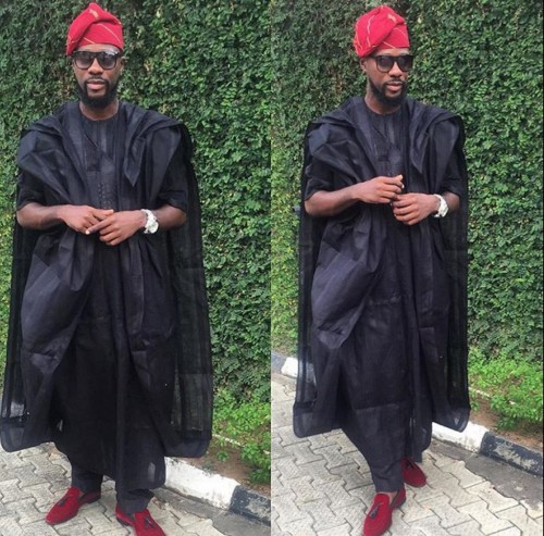 Really cute Black Agbada style with Red Cap and Red Leather shoes to match!
