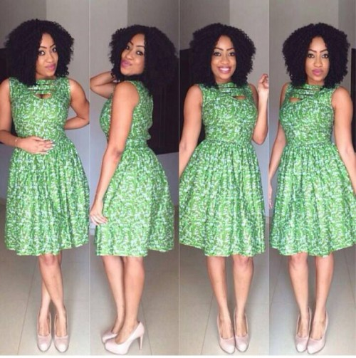 Really beautiful design of Green Ankara. You will love this Ankara short fIare gown I promise.