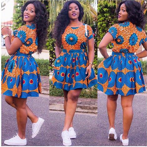 Unique 100%. Girl slays in Ankara short gown styles while rocking sneakers. Simply awesome.  Don't waste your time. Start slaying this look